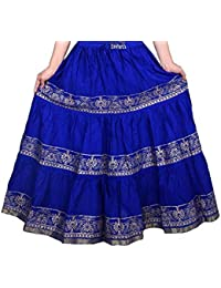 Anchal Collection Long Skirt for women Stylish 100% Cotton ethnic jaipuri casual{Free size Royal Blue}