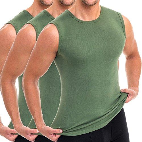 Unterhemd Hoch Männer (HERMKO 3040 3er Pack Herren Tank Top Unterhemd mit Rundhals-Ausschnitt, Größe:D 5 = EU M, Farbe:olive)