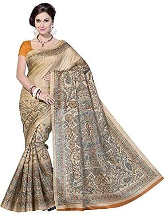 Rani Saahiba Art Silk Saree with Blouse Piece (SKR1055_Orange_one size)