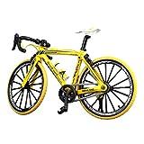 NUOBESTY Mini vélo Doigt vélo Miniature en métal Jouets Mini Sport Doigt vélo Jouet Jeu créatif Jeu de Collections (incurvée poignée Jaune)