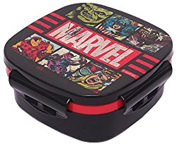 Marvel Avengers Plastic Lunch Box Set, 3-Pieces, Multicolour (HMRPLB 73271-AV)