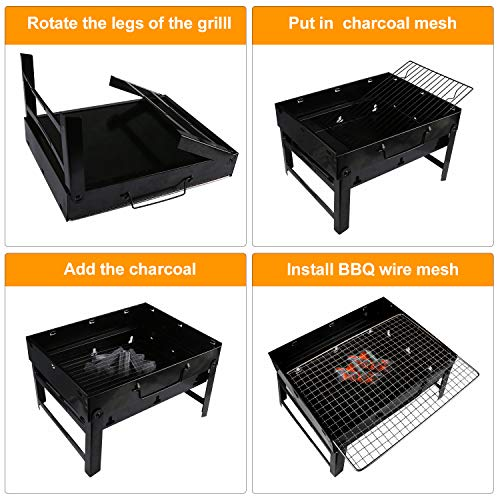 51JH0 Etq3L - Gifort Portable Grill, BBQ Holzkohlegrill Tragbar Mini Grill mit Rostfreier Stahl BBQ Drahtgeflecht Faltbare Mini Holzkohlegrill BBQ für Outdoor Garten Camping Party Beach Barbecue
