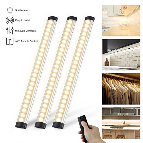 3er Set LED Unterbauleuchten Schrankleuchte 900LM,LED Leuchtröhren mit 360° Fernbedienung,LED Lichtleiste IP44,inkl. Montage-Zubehör