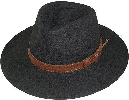 Billig Herren Fedora Hüte - Harrys-Collection Rollbarer Hut mit breiter Krempe