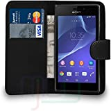 Sony Xperia M2 - Leather Wallet Flip Case Cover Pouch + Free Screen Protector + Free UK Delivery (BLACK)