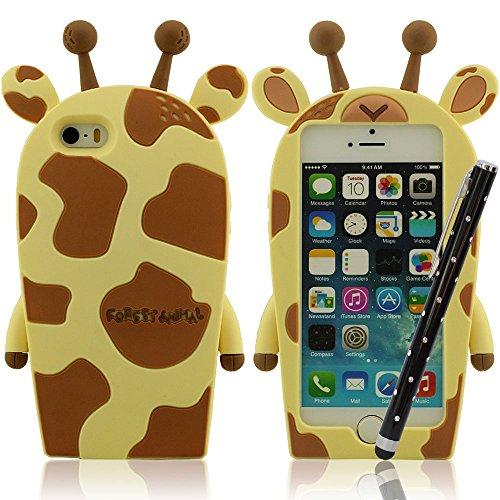 Mou Case Silicone Peau, Mignon Giraffe, iPhone 5 5S Protecteur, iPhone 5C Coque, Couverture de Protection pour iPhone 5 5S 5C 5G + Métal Stylo Jaune