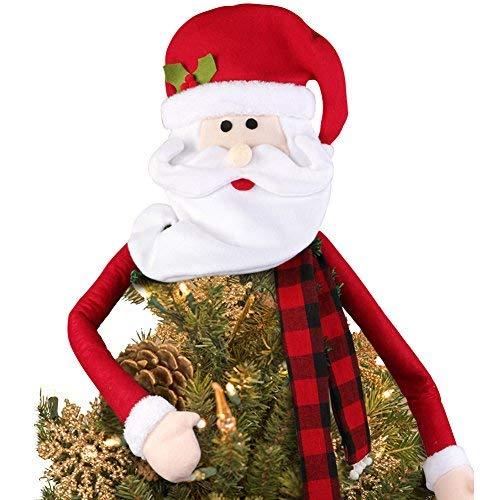 PartyTalk Weihnachtsmann Weihnachtsbaumspitze Christbaumspitze groß für Weihnachtsbaum Dekorationen und Ornaments, Santa Kopf mit Buffalo Plaid Schal (Santa Schal)