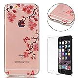 Coque iPhone 6/6S 4.7 Pouce Housse Silicone de Gel [Gratuit Protections D'écran],CaseHome Clear Ultra Slim Transparente Antichoc Doux Protecteur TPU Mode Motif-Fleur Rose Papillon