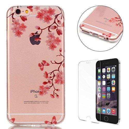 CaseHome Case for iPhone 6/6S 4.7 Zoll Hülle Weiche (with Displayschutzfolie) Flexibel Klar Gel Silikon Stoßfest Durchsichtig mit schönem farbenfrohem Muster -Rosa Blumen-Schmetterling (Lotus-blume Iphone 4 Case)