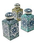 Gewürzdose, 6 x 6 x 13 cm, Keramik, handbemalt, FairTrade Hellgrün