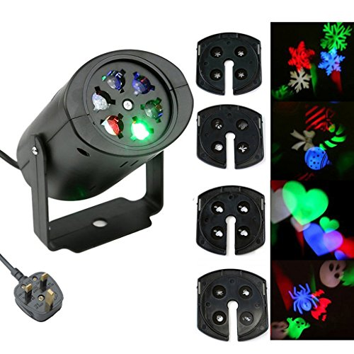 Bloomwin LED Landscape Projector Lamp Moving Snowflake Spotlight 4 Gobo Lens Fairy Light Perfect For Christmas Halloween Wedding Party Decor IP 44