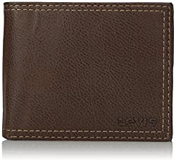 Levis Mens Extra Capacity Slimfold Wallet, Brown, One Size