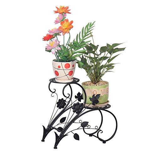 Eisen Blumentreppe Blumen Regale Pflanzenständer mit 2 Körbe Hocker Blumenhocker Regal (Schwarz) - Ein Blumen Korb Mit