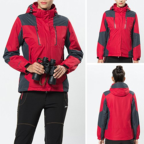 Zhhlinyuan Outdoor Softshell Hooded Casual Outwear Two pieces Womens Des sports Waterproof Jacket red