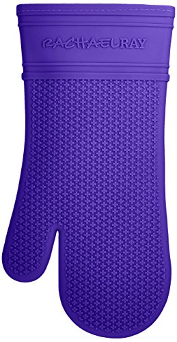 Rachael Ray Silicone Kitchen Oven Mitt with Quilted Cotton Liner, Blue