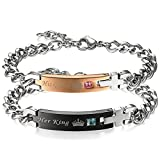 Flongo Partnerarmband, 2 Stück Edelstahl Armband Armreif Armkette Silber Schwarz Rose Gold Panzerkette Kette Partnerarmbänder Paar Strass 'His Queen' & 'Her King' Gravur Kreuz Kruzifix Herren,Damen