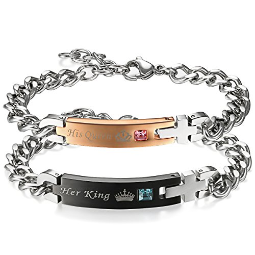 Flongo coppia bracciali braccialetto, his queen y her king, acciaio inox bracciali d'amore, nero oro rosa lui & lei, regalo per san valentino/natale, una coppia