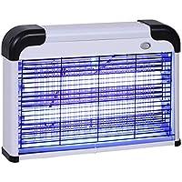 Outsunny Lampe UV Anti-Insectes Anti Moustique Tue Mouche électrique destructeur d'insectes 20 W Noir Gris
