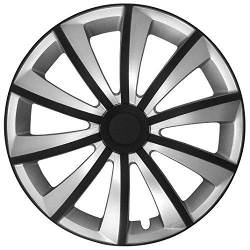 (Farbe & Größe wählbar) 16 Zoll Radkappen, Radzierblenden Strong Bicolor (Schwarz/Silber) passend für fast alle Fahrzeugtypen (universal)