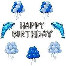 Globos para Cumpleaños Fiesta IvyLife Globos Azules de Decoración para Fiesta Cumpleaños con Globo de Delfines, Inflador, Adhesiva, Cinta, Globos de Papel de Aluminio HAPPY BIRTHDAY- Plateado