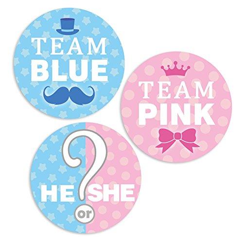 LUCK COLLECTION Baby-Dusche Geschlecht enthüllen Aufkleber er oder sie Aufkleber Team rosa Team blau Geschlecht offenbaren Party Supplies 42 Pack (Team Rosa Oder Blaues Team)