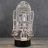 3D Nachtlicht LED Acryl Holzsockel USB Kreative Stereo Vision Tischlampe (Rakete)