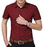 AIYINO Herren Kurzarm Hemd Slim Fit Baumwolle Casual Shirts 4 Farben zur Auswahl S-XL (Large, Weinrot)
