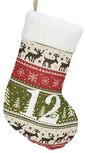 nder Socke Strumpf 250cm lang Rot/Grün Adventssäckchen Weihnachten ()