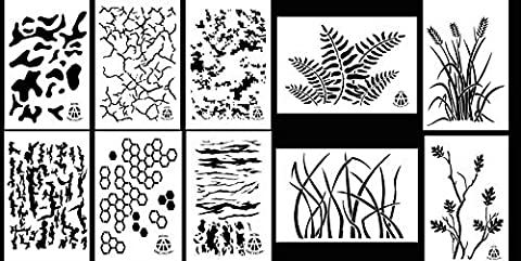 Acide tactique® 10Designs–22,9x 35,6cm Camouflage en vinyle peinture pochoirs Aérographe–(herbe,