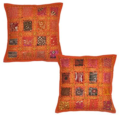 2 Pcs Indian Vintage Home Decor Cotton Cushion Cover With Embroidery & Patchwork, 41 X 41 Cm (Orange) (Orange) - low-cost UK light shop.