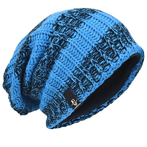 d5509308f80 Men Oversize Beanie Slouch Skull Knit Large Baggy Cap Ski Hat B08  (Stripe-BBlue