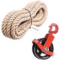 125mm Umlenkrolle mit Haken + Juteseil 20mm 10 Meter Seilwinde Seilzug Seilrolle Windenrolle Flaschenzug Baurolle Bau Aufzug SET