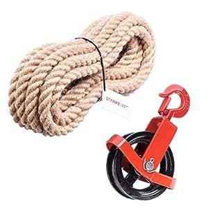 180mm Umlenkrolle mit Haken + Juteseil 20mm 30 Meter Seilwinde Seilzug Seilrolle Windenrolle Flaschenzug Baurolle Bau Aufzug SET