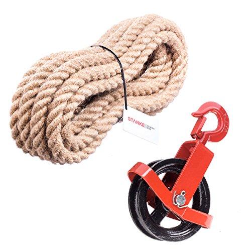 125mm Umlenkrolle mit Haken + Juteseil 16mm 15 Meter Seilwinde Seilzug Seilrolle Windenrolle Flaschenzug Baurolle Bau Aufzug SET