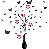 Zwarte muursticker bloemen vaas vlinders muurtattoo wandafbeeldingen met spiegeleffect wanddecoratie huisdecoratie voor woonk