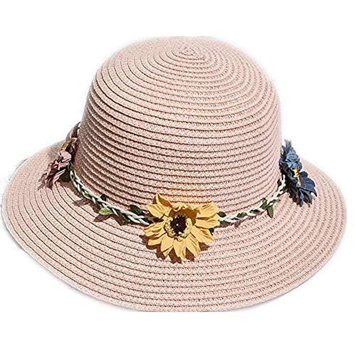 Giow Frauen Strohhut Frauen Sonnenhut strohmütze breiter krempe für Damen Faltbare Blume für Summer Beach uv Schutz sonnenhüte (Farbe: fleischpulver, größe: Hut Seite 7 cm)