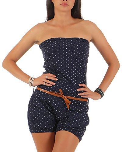 Malito Damen Einteiler mit Anker Print   kurzer Overall schulterfrei   Jumpsuit mit Gürtel - Romper 8963