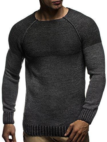 LEIF NELSON Herren Strickpullover Pullover Sweatshirt LN20706; Grš§e M, Anthrazit