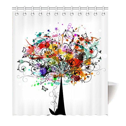 Preisvergleich Produktbild Violetpos Duschvorhang Kreativ Baum Hochwertige Qualität Badezimmer 180 x 200 cm