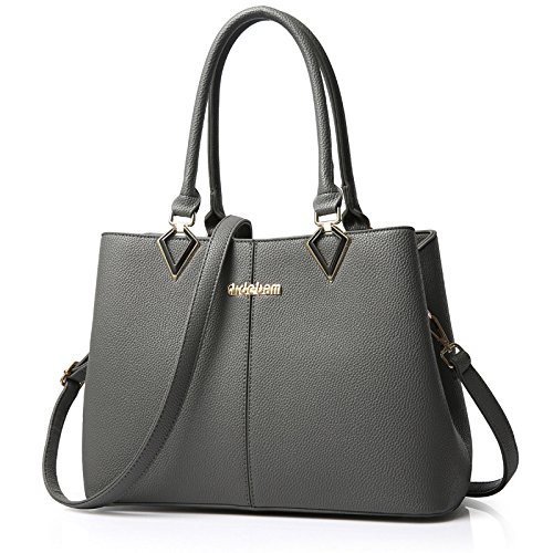koson-man-womens-new-style-noble-fashionable-pu-leather-pure-color-tote-bags-shoulder-bagsgrey