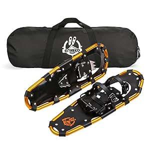Enkeeo Racchetta da Neve Regolabile Compatto Portatile, Lega in Alluminio, 63cm, Nero e Arancione