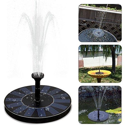 JUNHENG Solar Brunnenpumpe Vogeltränke, Solar Springbrunnen für Gartenteich, Brunnen Garten Solar 1,5 W Kreis Garten Upgraded Schwimmende Fountain Pump für Birdbaths und Teiche
