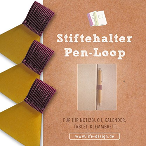 3 Stk Stifthalter, Stiftschlaufe, Pen-Loop, Pen-Holder selbstklebend für Notizbuch, Kalender, Klemmbrett, bordeaux, transparentes Klebepad