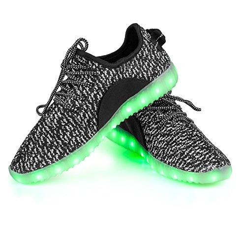 Shinmax LED ChaussuresLED Chaussures, Chaussure LED Sports Basket Lumineuse 7 Couleur USB Charge Chaussure Clignotants pour Unisexe Homme Femme Garçon Fille avec Certificat CE