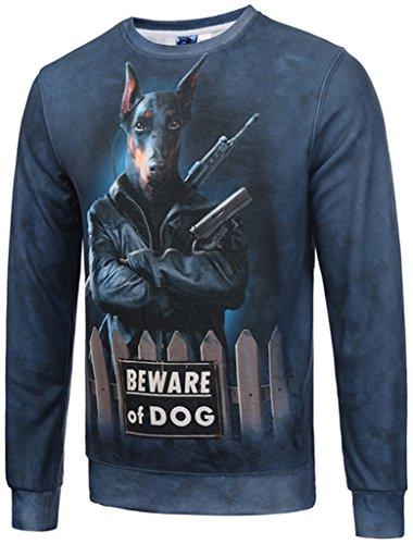 Pizoff Unisex lange Ärmel Rundhalsausschnitt Elastische Winter Warm Thicken gefütterte Sweatshirts mit Cartoon Doberman hund 3D Druck (Tee Neue Schwarze Hund T-shirt)