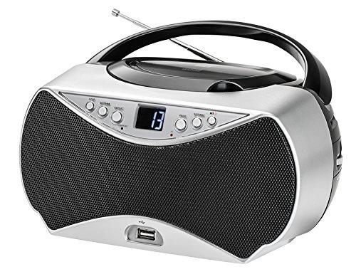 Dual P 396 Portable Boombox (CD-Player, UWK-Radio, USB-Anschluss, AUX-IN-Anschluss) Schwarz - Boombox Radio Portable