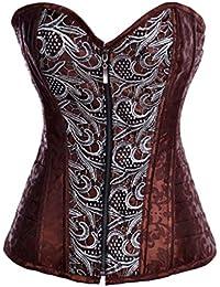 aimerfeel brun brocart style steampunk corset désossé par acier de overbust, la taille 36,38,40,42,44, 46
