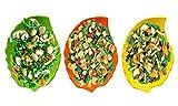 #5: Melamine Salad Leaf Shaped Platter Serving Tray Chip & Dip Snacks Noodles Dry Fruit Plate Tableware, Dinnerware Food Grade Material (3pcs Set)