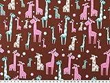 Kinderstoff, Tiere, Giraffen, rotbraun-mehrfarbig, 140cm