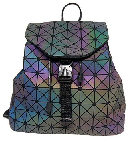 Roffatide Geometrisch Glänzend Rhombus Laser Sequins Rucksack Schultertasche Schulranzen für Frauen und Männer Dreieckig (Tasche Laser)